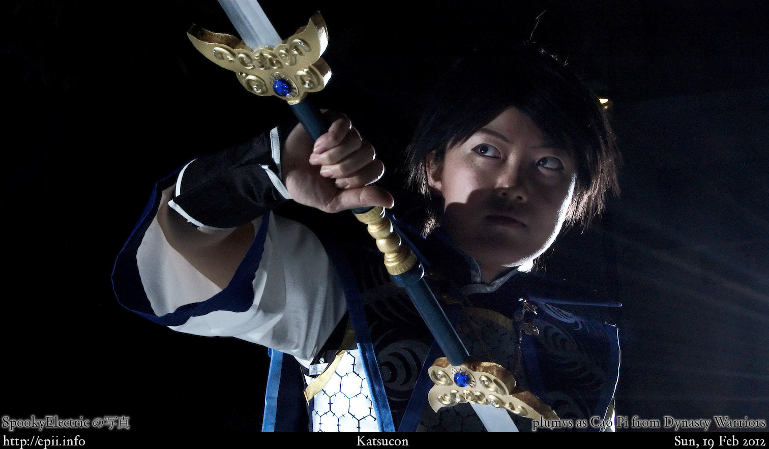 Dynasty warriors cao pi sasaki ryou black hair blood crying male ponytail side view solo